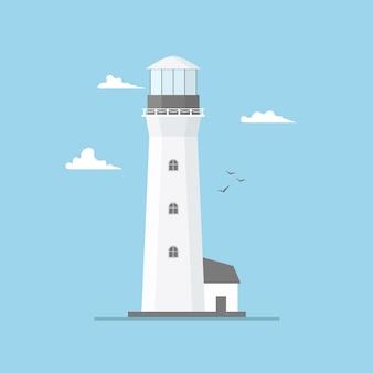 Płaska ilustracja latarni morskiej budynek i niebieskie niebo. wieża reflektorów z mew i chmur