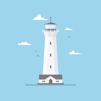 Płaska ilustracja latarni morskiej budynek i niebieskie niebo
