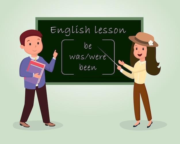 Płaska ilustracja lekcji angielskiego. lektorat, kurs gramatyki na białym tle clipart