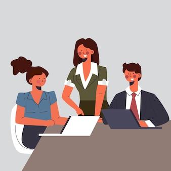 Płaska ilustracja lider zespołu kobiet