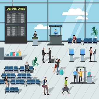Płaska ilustracja lotniska wewnątrz: hala z krzesłami, stanowiska odpraw, stanowisko inspekcyjne, tablica przylotów i odlotów oraz pasażerowie