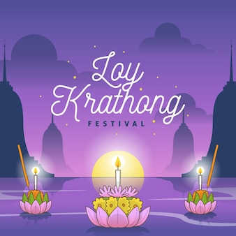Płaska ilustracja loy krathong