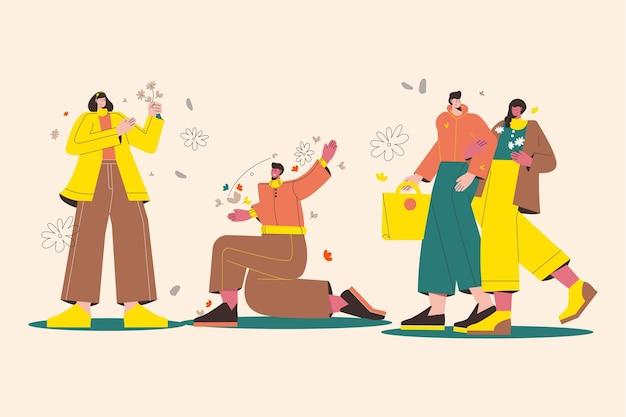 Płaska ilustracja ludzi cieszących się jesienną pogodą