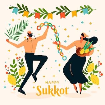 Płaska ilustracja ludzi świętujących sukkot