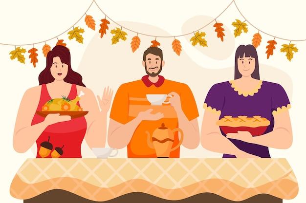 Płaska ilustracja ludzi świętujących święto dziękczynienia