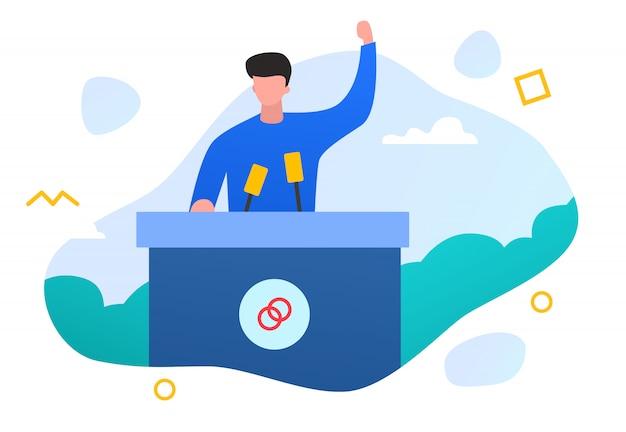 Płaska ilustracja ludzie kampanii front runner czy mowy przywództwa sukces firmy koncepcji biznesowej