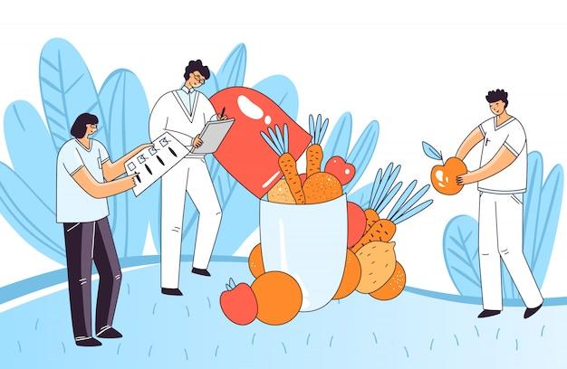 Płaska ilustracja mężczyzny, kobiety znaków sprawdzania leku, pigułki, kapsułki dla zdrowia ludzkiego, dodając w pigułce istotne naturalne elementy z warzyw i owoców. koncepcja farmakologii