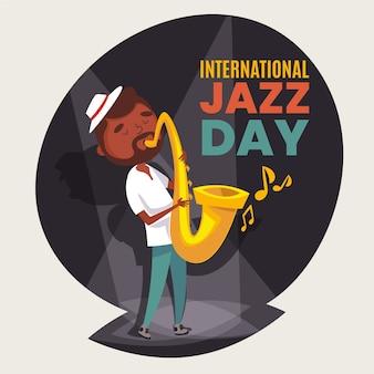Płaska ilustracja międzynarodowego dnia jazzu z muzykiem