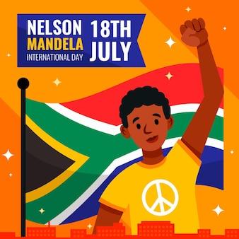 Płaska ilustracja międzynarodowego dnia nelson mandela