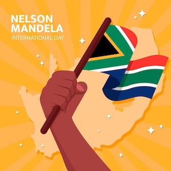 Płaska ilustracja międzynarodowego dnia nelsona mandeli