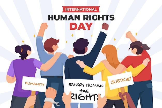 Płaska ilustracja międzynarodowego dnia praw człowieka z ludźmi i afiszami