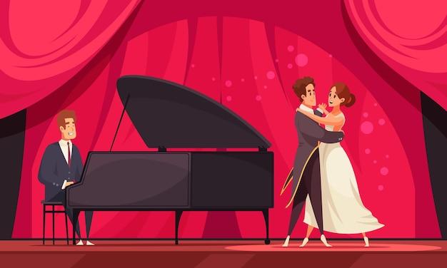Płaska ilustracja międzynarodowego dnia tańca z parą tancerzy wykonujących walca przy akompaniamencie ilustracji fortepianowej