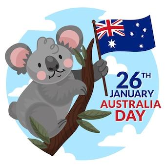 Płaska ilustracja miś koala dzień australii