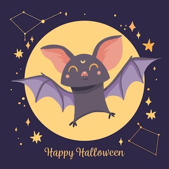 Płaska ilustracja nietoperza halloween
