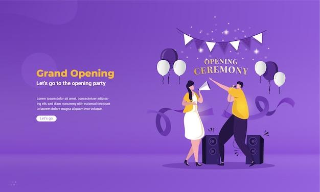 Płaska ilustracja o świętowaniu koncepcji uroczystego otwarcia