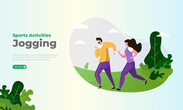 Płaska ilustracja o zajęciach sportowych joggingu w parku
