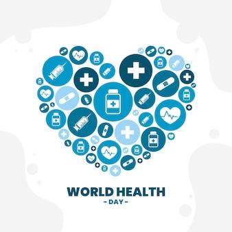Płaska ilustracja obchodów światowego dnia zdrowia