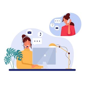 Płaska ilustracja obsługi klienta