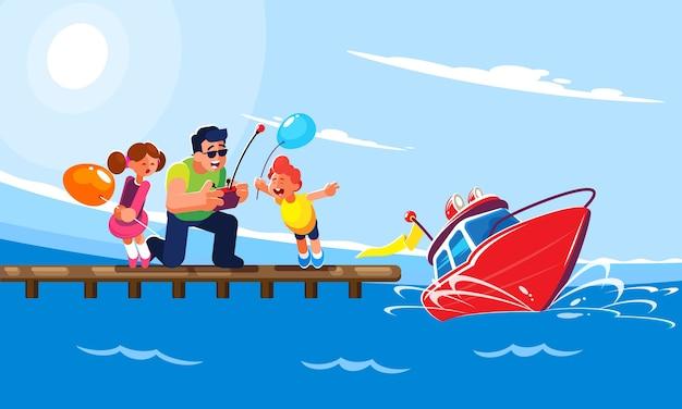 Płaska ilustracja ojca z dziećmi jedzie z molo czerwonym sterowanym radiowo modelem nowoczesnej motorówki.