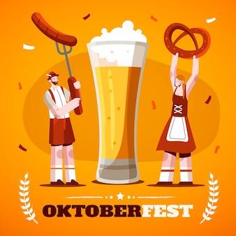 Płaska ilustracja oktoberfest