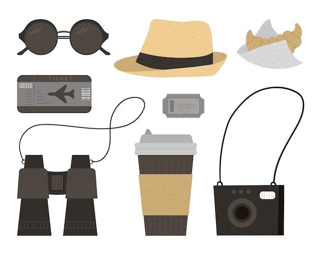 Płaska ilustracja okularów przeciwsłonecznych, czapki, aparatu fotograficznego, biletów, lornetki, kawy, rogalika. modny zestaw podróżny. obiekty podróży ustawione na białym tle na białym tle. elementy plansza wakacje