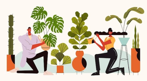 Płaska ilustracja osób opiekujących się roślinami