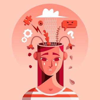 Płaska ilustracja osoby z problemami zdrowia psychicznego