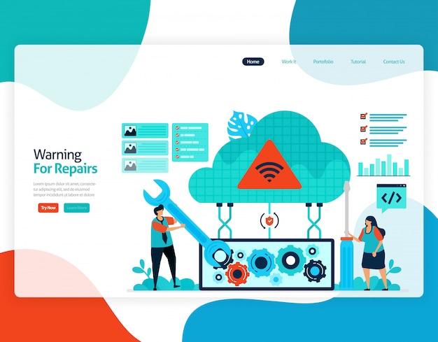 Płaska ilustracja ostrzeżenia o naprawach. naprawa i konserwacja technologii przechowywania w chmurze.