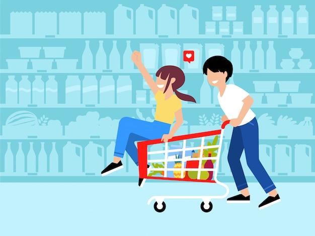 Płaska ilustracja para zabawy zakupy w sklepie spożywczym, jazda wózkiem na zakupy