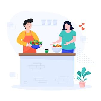 Płaska ilustracja pary gotującej razem