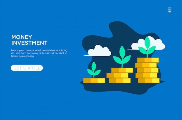 Płaska ilustracja pieniądze inwestycja