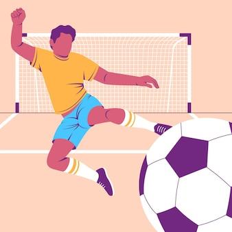 Płaska ilustracja piłkarza