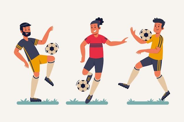 Płaska ilustracja piłkarzy