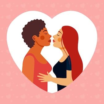 Płaska ilustracja pocałunku lesbijek