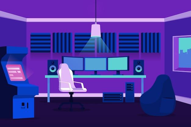 Płaska ilustracja pokoju gracza