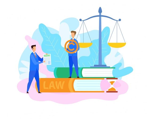 Płaska ilustracja prawnika ds. własności intelektualnej