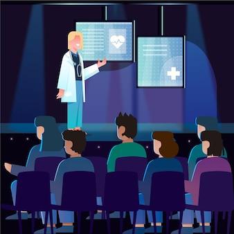Płaska ilustracja prezentacja medyczna