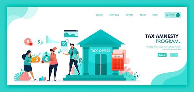 Płaska ilustracja programu amnestii podatkowej do zgłaszania naruszeń aktywów i podatków