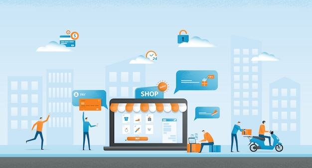 Płaska ilustracja projekt biznes zakupy online i biznes koncepcja e-commerce