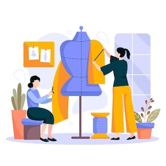 Płaska ilustracja projektant mody