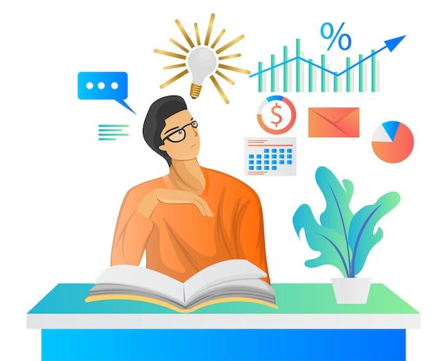 Płaska ilustracja przedstawiająca osobę czytającą książkę i mającą tam pomysł na biznes