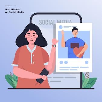 Płaska Ilustracja Przedstawiająca Zdjęcie Kobiety I Jej Chłopaków W Mediach Społecznościowych Premium Wektorów