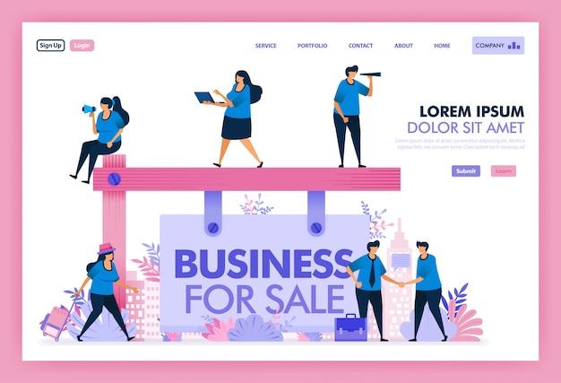 Płaska ilustracja przejęć platformy, wyszukaj i znajdź dobry biznes na sprzedaż.
