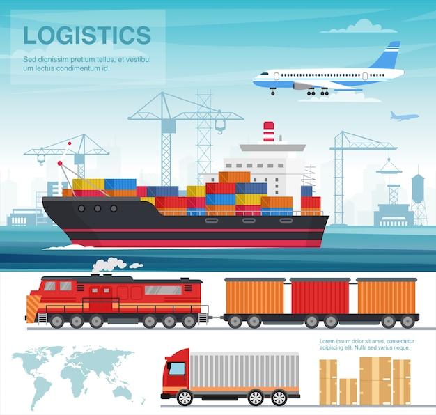 Płaska ilustracja przemysłu transportowego. sektor transportowy. międzynarodowy transport ładunków ciężarówkami, statkami wycieczkowymi, samolotami. logistyka i dystrybucja. dostawa. handel globalny