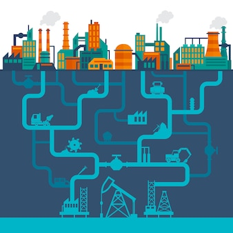 Płaska ilustracja przemysłu