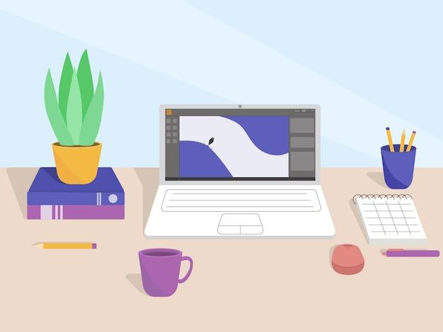 Płaska ilustracja pulpitu w biurze lub freelancera z domu. praca elementów wyposażenia wnętrz: stół, laptop, notatnik i książki.