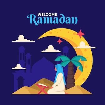 Płaska ilustracja ramadanu