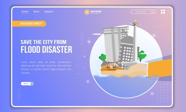 Płaska ilustracja ratowania miasta przed katastrofą powodziową