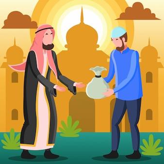 Płaska ilustracja reprezentująca muzułmańskiego arabskiego mężczyznę rozdającego jałmużnę lub zakat potrzebującemu w dzień eid mubarak