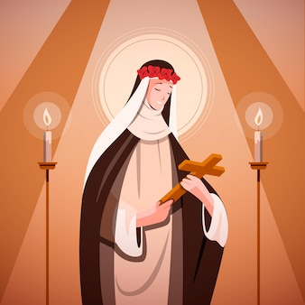Płaska ilustracja santa rosa de lima